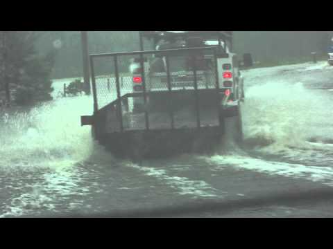 Road flooding from Tropical Storm Debby in Live Oak, FL