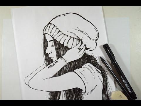 Como desenhar Garota Tumblr - passo apasso #arteeciabrasil1milhão