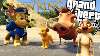 Paw Patrol VS The Lion King MOD (GTA 5 PC Mods Gameplay)