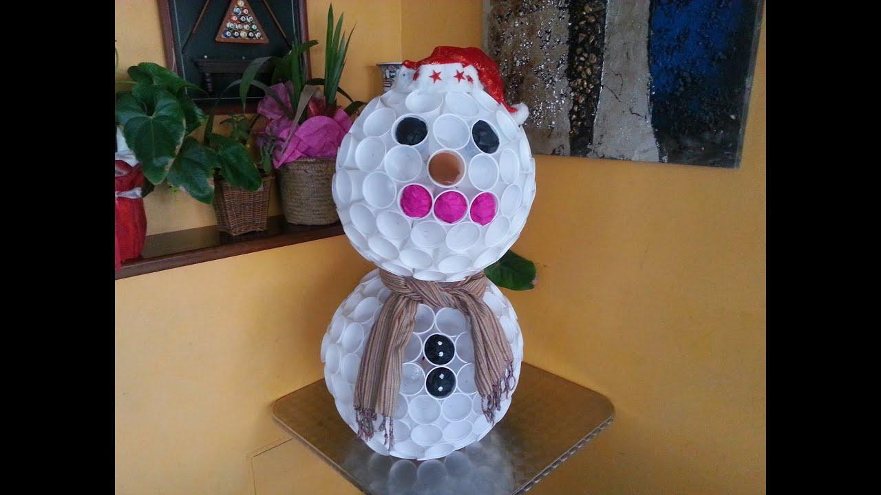 Tutorial pupazzo di neve con i bicchieri di plastica for Sfere con bicchieri di plastica