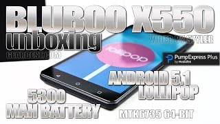 "BLUBOO X550 (Unboxing) Android 5.1, 5300 mAh, 5.5"" IPS HD, 2GB RAM, MTK6735P 64bit 4G, Quickcharge"
