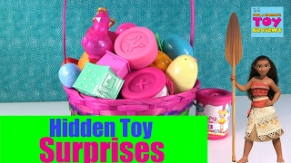 Giant Basket Of Surprise Eggs Toys Disney Shopkins Trolls Moana Opening   PSToyReviews