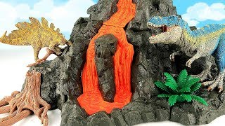 Schleich Giant Volcano T-Rex! Learn Dinosaur With Flowing Lava Dino Toys