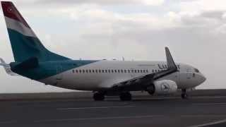 Madeira Airport LUXAIR Luxembourg Airlines Boeing 737-700 take off