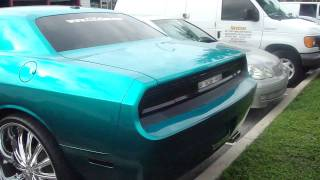 "CANDY TEAL DODGE CHALLENGER ON 28"" RIMS!! FOOOOTAAAGE!!!"