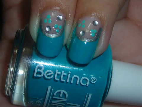 Nail Art - Teal Dress - Diseño de uñas