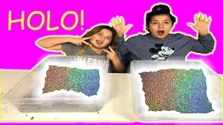 1 GALLON OF HOLO SLIME VS 1 GALLON OF HOLO SLIME - DIY GIANT HOLOGRAPHIC SLIME