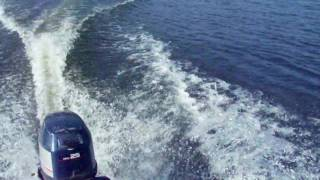 Pocket Rocket -small speed boat-in freshwater lake and the canyons