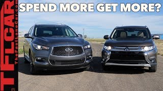 When You Spend More Do You Get More? Infiniti QX60 vs Mitsubishi Outlander Drag Race & Review