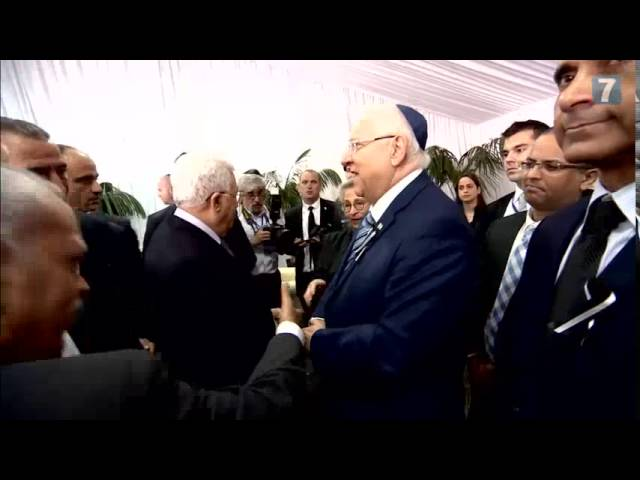 Israeli leaders meet PA Chairman at funeral of Shimon Peres