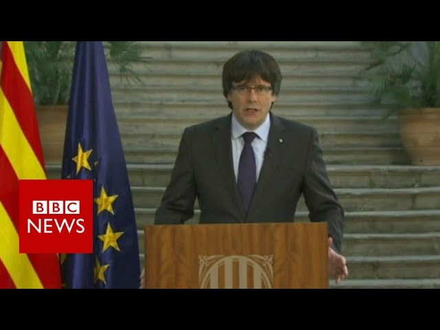 Catalan ex-leader Carles Puigdemont vows to resist takeover - BBC News