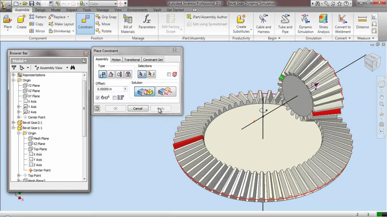 Bevel Gear Dynamic Simulation Through Autodesk Inventor