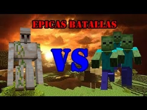 Batallas Epicas Minecraft: Golems Vs Zombies
