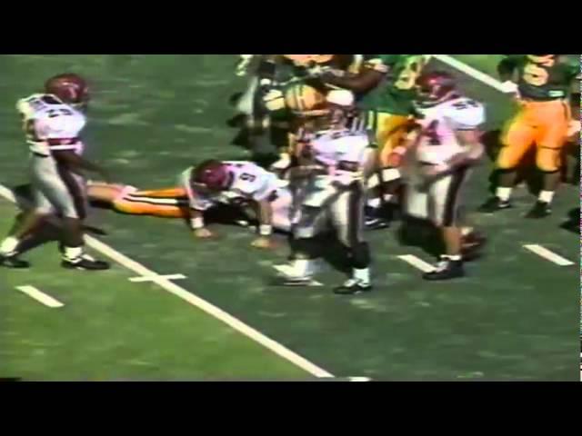 Oregon LB James Bautista sacks NMSU QB David Chisam 10-05-91