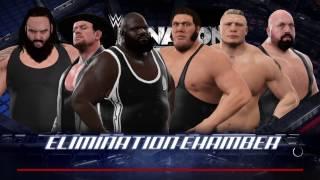 WWE 2K17 Brock VS,Big Show,Mark,Braun,André,Undertaker 6-Man Elimination Chamber Match