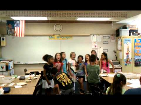 2nd grade class singing Justin Barber song