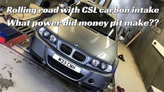 BMW e46 M3 + Carbon intake at Surrey rolling road