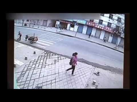 Girl swallowed by pavement in China