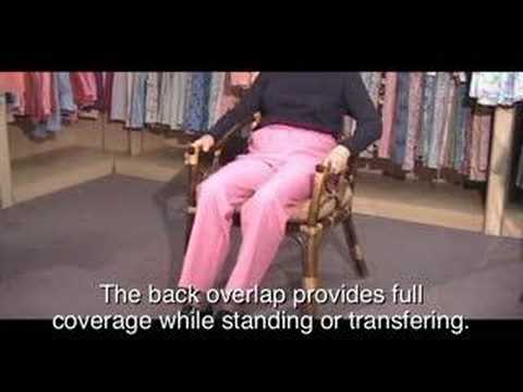Womens and Mens Open Back Adaptive Clothing Wheelchair Pant Dressing Video