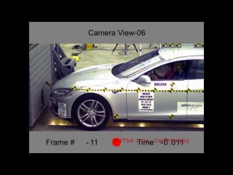 2013 Tesla Model S (All-Electric Plug-In) NHTSA Frontal Impact (NHTSA Five Star Car)