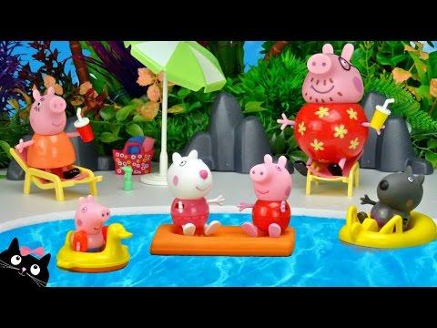 Peppa pig va a la piscina del parque acuatico de playmobil for Peppa pig en la piscina