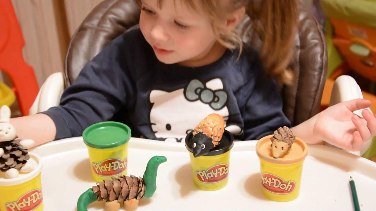 Поделки из пластилина и шишек динозавр 74