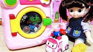 Peppa Pig Washing machine surprise eggs Robocar Poli toys play #21