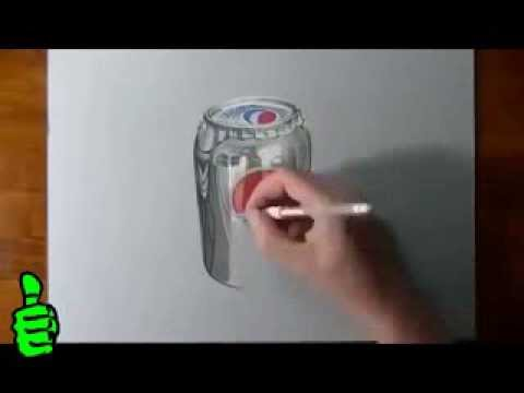 3D pepsi. Рисунки карандашом...