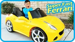 Unboxing New Ferrari Battery Powered Ride On Super Fast Car 12V Power Wheels Test Drive, TigerBox HD