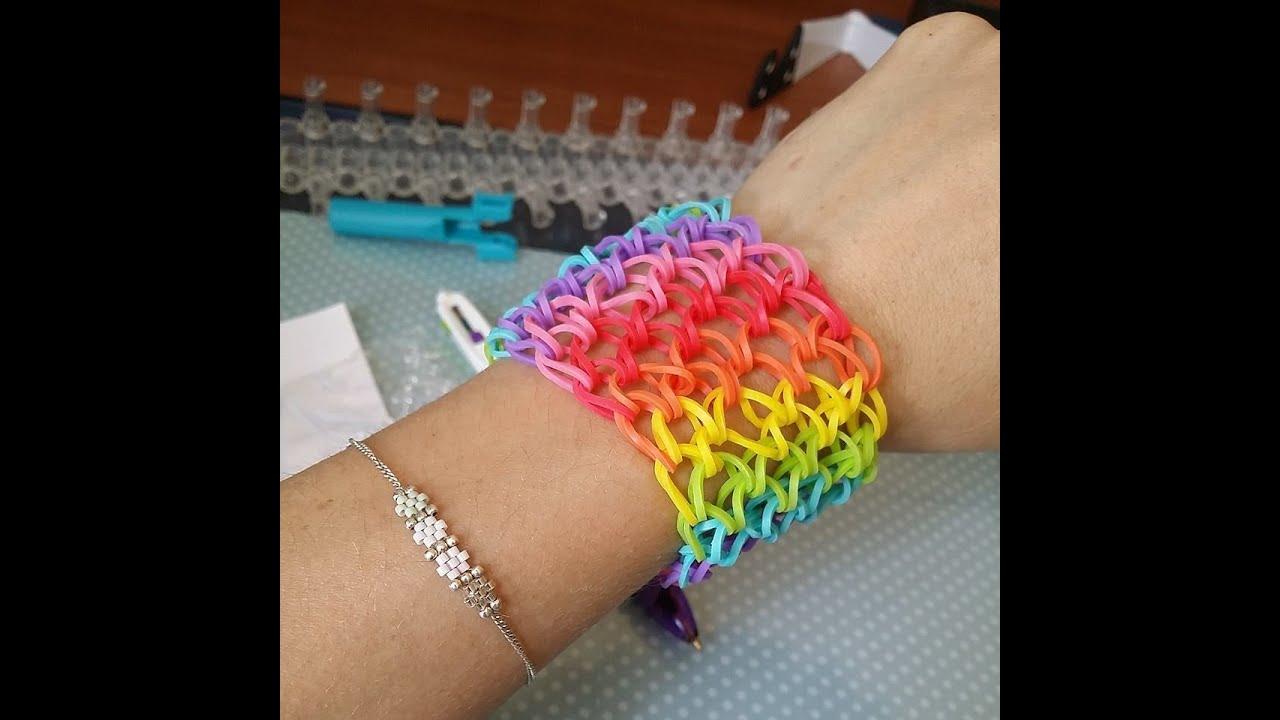 Tuto bracelet lastique manchette rainbow youtube - Fil elastique pour bracelet ...
