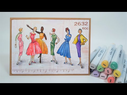 How To Color Vintage simplicity Fashion Girls // Cardmaking & Thrifty Alcohol Markers