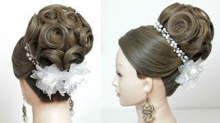 Bridal hairstyle for long hair tutorial. Wedding updo. Perfect Bun