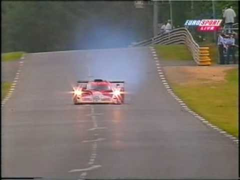 The Japanese crew (Ukyo Katayama, Keiichi Tsuchiya and Toshino Suzuki) Toyota GT One is stuck behind Thomas Bscher in his own BMW V12 LM98 and is having trou...