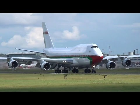 Oman Royal Flight Boeing 747 A4O-OMN landing and takeoff at Hamburg Airport