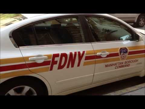 FDNY MANHATTAN BOROUGH COMMAND UNIT OUTSIDE FDNY LADDER 1 FIREHOUSE ON DUANE ST & BRAODWAY IN NYC.