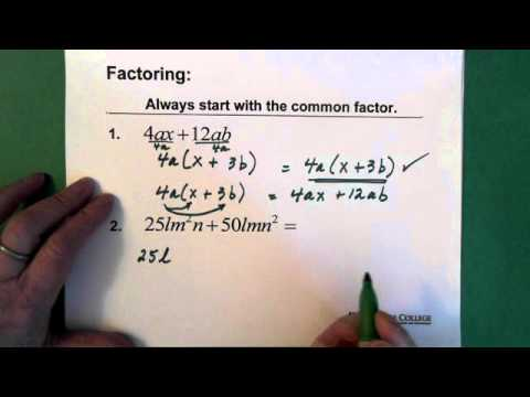 1. Polynomials: Factoring Common Monomials