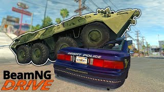 INSANE BTR RAMPAGE & POLICE CHASE! - BeamNG Gameplay & Crashes - Cop Escape