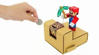 How to Make Minecraft Super Mario Coin Bank Box from Cardboard