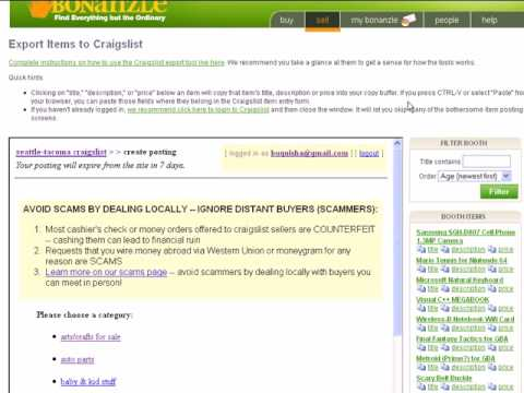 Bonanzle to Craigslist, in Two Minutes or Less