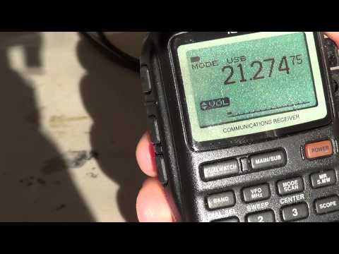 Icom IC R20 on the 15 meter band amateur radio
