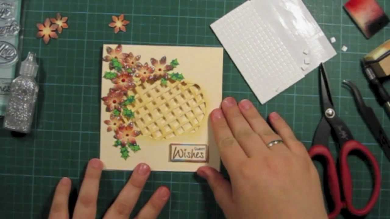 How to make a window lattice card with poinsettia flowers christmas