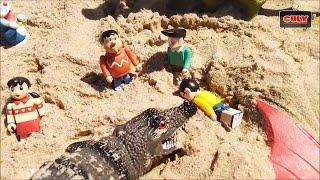 Đồ chơi Doremon - giải cứu Nobita bị cá sấu biển tấn công