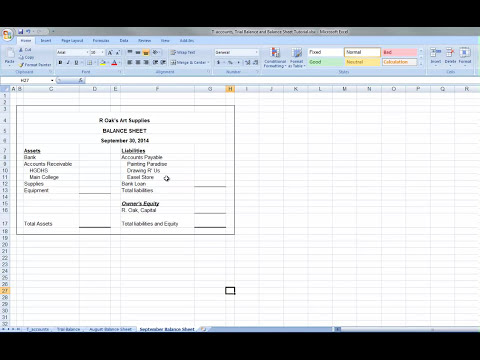 T accounts, Trial Balance and Balance Sheet Tutorial