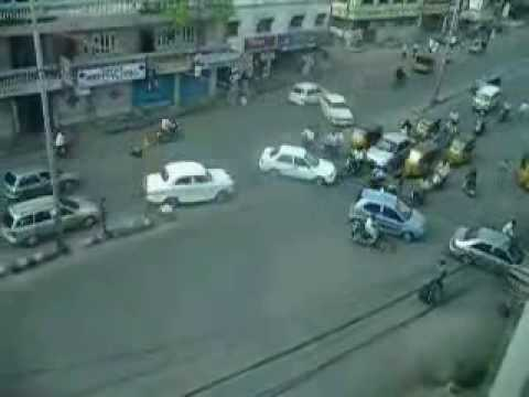 Crazy drivers - traffic - intersection - in India
