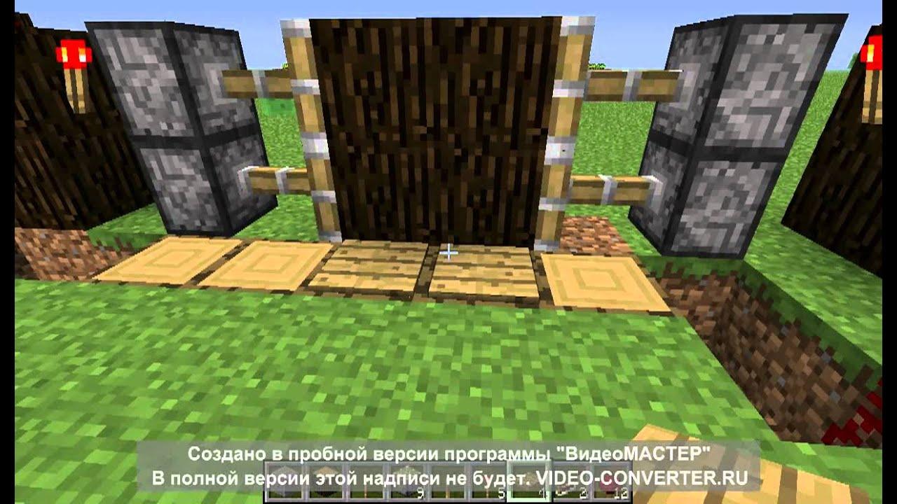 Механическая дверь и лестница в minecraft - YouTube