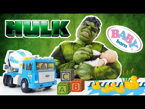 Joke about the HULK and BABY BORN. Funny videos for kids and kid's games. Халк и Беби Бон видео