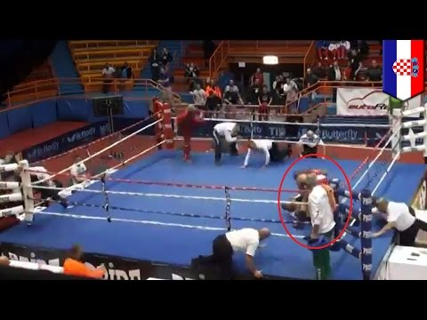 Boxer attacks referee: Croatia's Vido Loncar knocks out official after losing fight