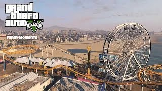 GTA V- Crazy Shenanigans at The Amusement Park (GTA V Funny Moments)