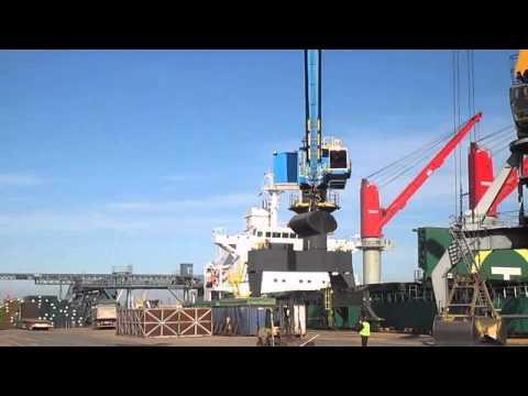 KST is loading it's first grain vessel using the E-Crane