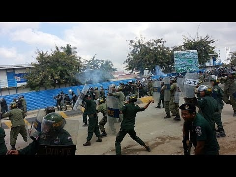 Deadly Clashes amid SL Garment Factory Workers' Strike in Phnom Penh, Cambodia